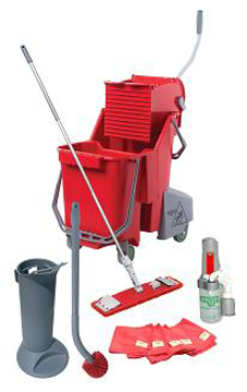 Picture of Unger FlatMop Pro Restroom Cleaning Kit - RRPRO