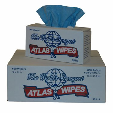 """Picture of Atlas Wipes - 9"""" x 12"""", Blue - 150 Count"""