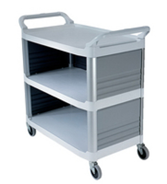 Picture of Rubbermaid 4093 3-Shelf Utility Cart, Enclosed on 3 Sides
