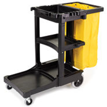 Picture of Rubbermaid 6173-88 Cleaning Cart with Zippered Yellow Vinyl Bag