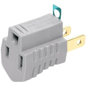 Picture of Cooper Wiring 419GY 15-Amp 2-Pole 3-Wire 125-Volt Single Outlet Grounding Adapter with Grounding Lug - Gray