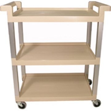 Picture of Rubbermaid 9T65-71 Three-Shelf Service Cart with Brushed Aluminum Uprights