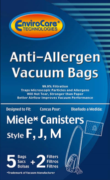 Picture of Miele Vacuum Bags - Style FJM Anti-Allergen (5 pack + 2 filters)