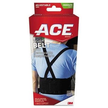 Picture of 3M Commercial Back Support - One Size Adjustable, Black w/Removable Suspenders