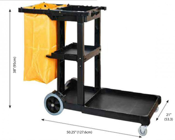 Picture of Janitor's Cart w/Zippered Bag, Extra Large, Black