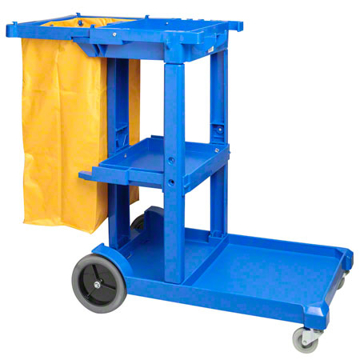 Picture of Janitor's Cart w/Zippered Bag, Large, Blue