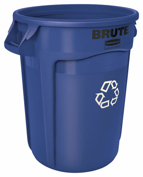 Picture of Rubbermaid BRUTE 20-Gallon Vented Container without Lid - Blue Recycling