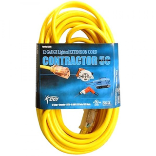 Picture of CCI Vinyl Outdoor Extension Cord - 50', 15 Amp, Yellow, Lighted End
