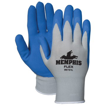 Picture of MCR Safety Memphis Flex Seamless Nylon Knit Gloves - Large, Blue/Gray, Pair