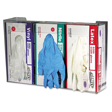 "Picture of Clear Plexiglas Disposable Glove Dispenser, Three-Box, 18""w x 3.75""d x 10""h"