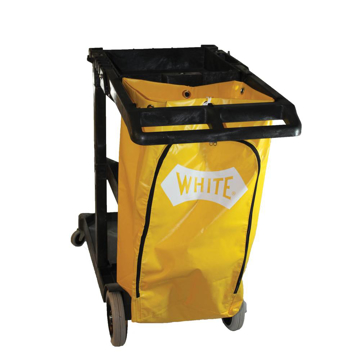 Picture of Impact Janitorial Cart, Three-Shelves, 20.5w x 48d x 38h, Gray with 25 Gallon Yellow Vinyl Bag