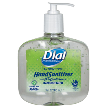 Picture of Dial Antibacterial Gel Hand Sanitizer w/Moisturizers - 16oz Pump, Fragrance-Free, 8/Carton