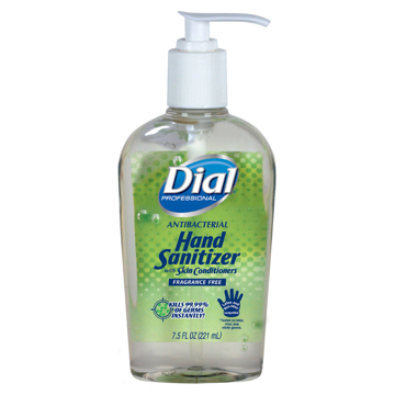 Picture of Dial Antibacterial Gel Hand Sanitizer with Moisturizers - 7.5oz Pump Bottle, 12/Carton