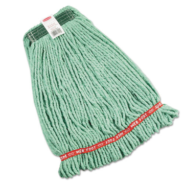 "Picture of Rubbermaid Web Foot Shrinkless Looped-End Wet Mop Head - 20 oz Medium - 1"" Headband - Green"